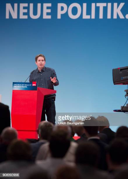 Special party conference of the SPD in Bonn Kevin Kuehnert Chief of the Young Sicialists in the SPD during his speech In the background the words new...