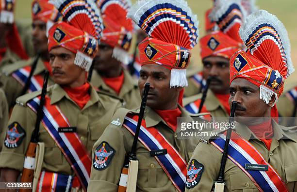 Special Police force representatives from the southern Indian state of Andhra Pradesh march past during a ceremonial parade to mark Independence Day...