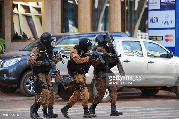 Special police forces are seen during search operations following an attack by AlQaeda linked gunmen on January 16 2016 in Ouagadougou Security...