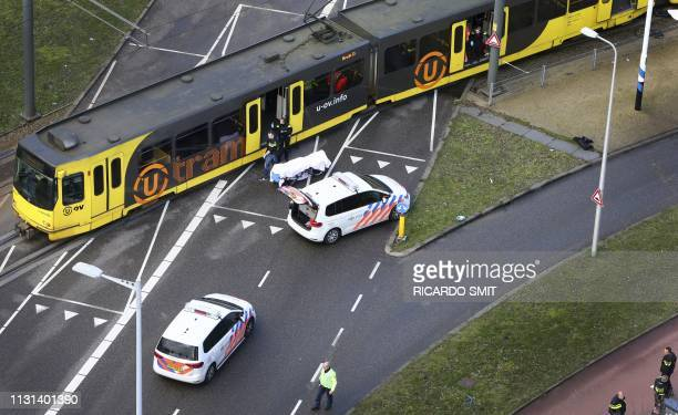 Special Police forces inspect a tram at the 24 Oktoberplace in Utrecht on March 18 2019 where a shooting took place A gunman opened fire on a tram in...