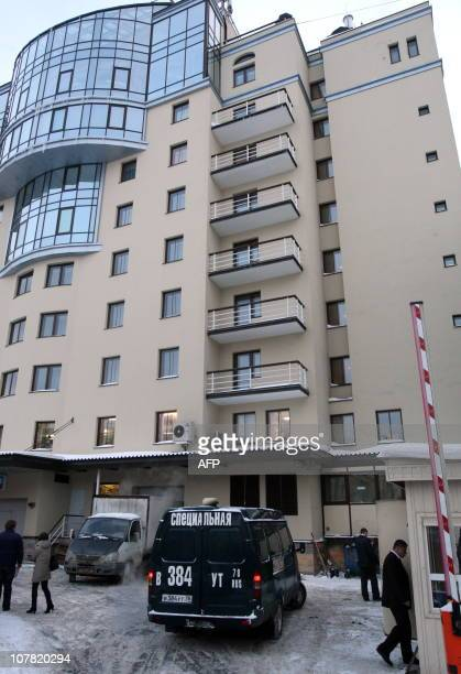 A special police investigators van is parked beside the rear entrance of the Ambassador hotel in St Petersburg on December 30 2010 following the...
