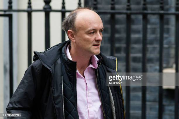Special Political Advisor for the Prime Minister of the UK Dominic Cummings leaves 10 Downing Street for Parliament as the government tables the...