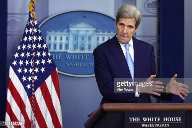 Special Presidential Envoy for Climate and former Secretary of State John Kerry speaks during a daily press briefing at the James Brady Press...