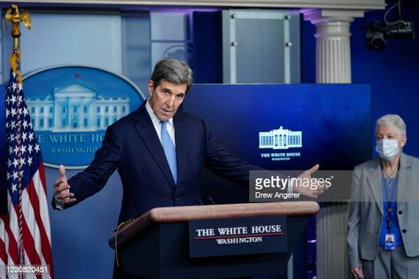 Special Presidential Envoy for Climate John Kerry and National Climate Advisor Gina McCarthy answer questions during a press briefing at the White...