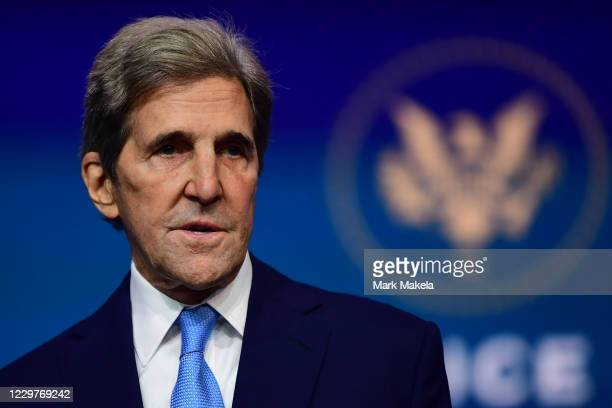 Special Presidential Envoy for Climate John Kerry speaks after being introduced by President-elect Joe Biden as he introduces key foreign policy and...