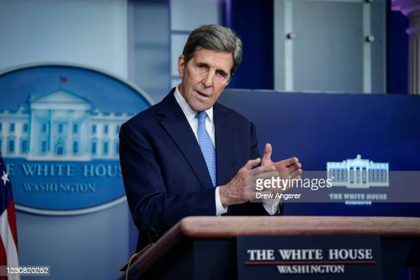 Special Presidential Envoy for Climate John Kerry speaks during a press briefing at the White House on January 27, 2021 in Washington, DC. Kerry and...