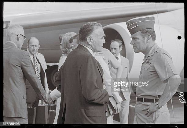 Special Presidential Envoy General Alexander M Haig Jr talks with US Ambassador to Thailand Leonard Unger on his arrival 4/9 to start four days of...