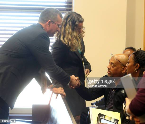 Special Prosecutor Brad King left meets the family of Sade Dixon during Markeith Loyd's status hearing Monday March 20 2017 in Orlando Fla