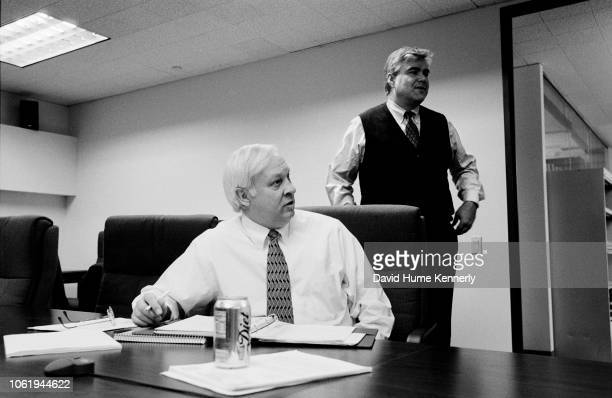 Special Prosecutor Hickman Ewing with deputy Jackie Bennett during a meeting in the ClintonLewinsky investigation at their offices in Washington DC...