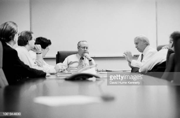 Special Prosecutor Ken Starr meets with his team, from left, Charles Bakaly, Bob Bittman, Solomon Wisenberg, Kenneth, Hickman Ewing and Jackie...