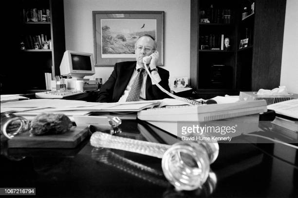 Special Prosecutor Ken Starr on the phone in his office during the Whitewater investigation in Washington DC December 13 1996