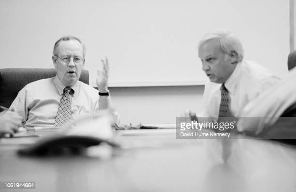 Special Prosecutor Ken Starr with deputy Hickman Ewing in a meeting during the Whitewater investigation at their offices in Washington DC November 13...