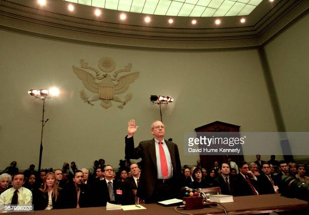 Special Prosecutor Kenneth Starr is sworn in before testifying to the House of Representatives Judicial Committee November 19 1998 Starr alleged in...