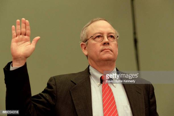 Special Prosecutor Kenneth Starr offers his testimony to the House of Representatives Judicial Committee Washington DC November 19 1998 Starr alleged...