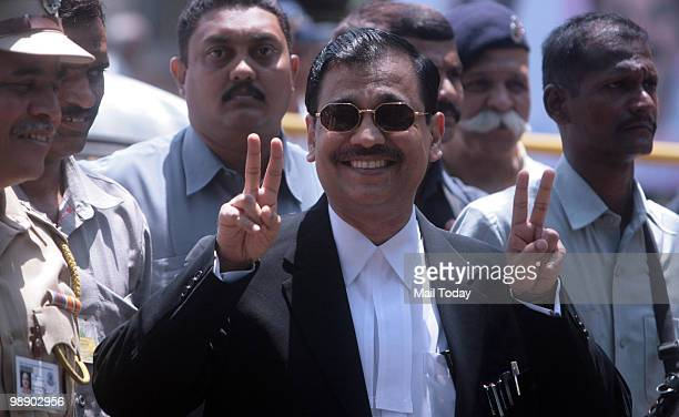 Special Public Prosecutor Ujjwal Nikam interacting with the media after a special court pronounced death sentence to Ajmal Kasab in 26/11 terror...
