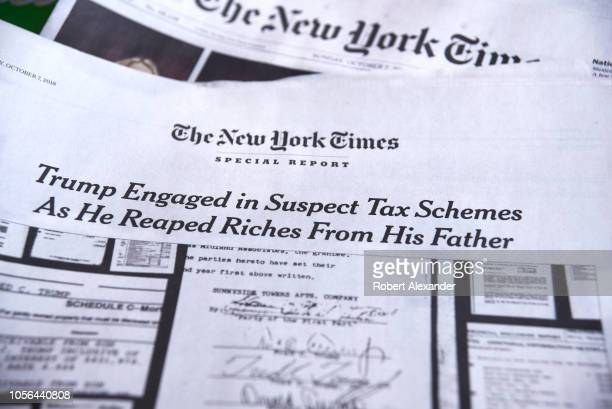 A special report in the October 7 2018 edition of The New York Times investigates suspect tax schemes used by Donald Trump and his father Fred Trump...