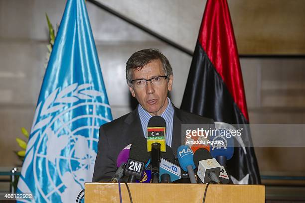 Special Representative and Head of the United Nations Support Mission in Libya Bernardino Leon holds a press conference on Libya's reconciliation...