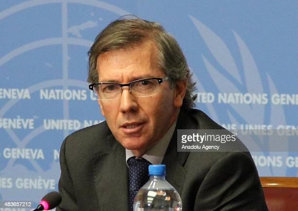 Special Representative and Head of the United Nations Support Mission in Libya Bernardino León hold a press conference on Geneva talks for Libya at...