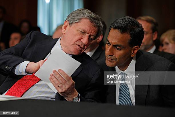 S Special Representative for Afghanistan and Pakistan Richard Holbrooke consults with Richard Verma Department of State Assistant Secretary for the...