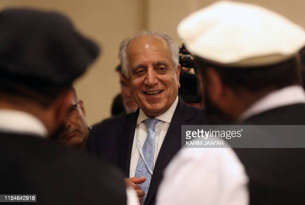 Special Representative for Afghanistan Reconciliation Zalmay Khalilzad attends the Intra Afghan Dialogue talks in the Qatari capital Doha on July 8,...