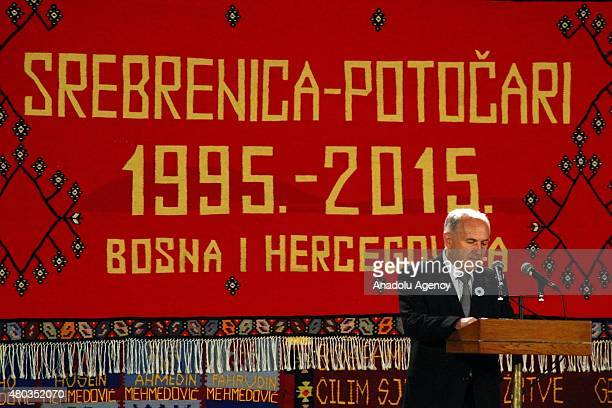 Special Representative for Bosnia and Herzegovina Valentin Inzko delivers a speech during the commemoration of 20th anniversary of Srebrenica...