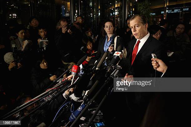 S Special Representative for North Korea Affairs Glyn Davies speaks to journalists upon arrival at a hotel on February 23 2012 in Beijing China The...