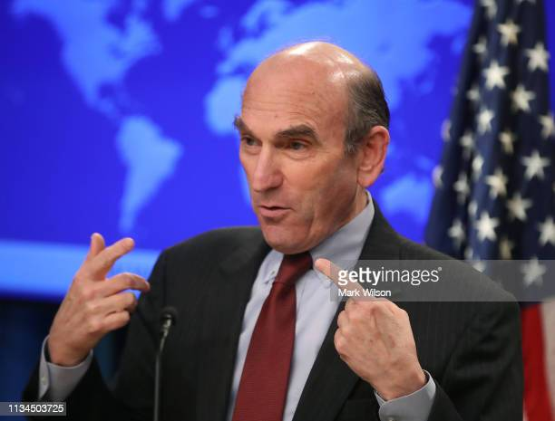S Special Representative for Venezuela Elliott Abrams briefs the media on the current situation in the country in the briefing room at the Department...