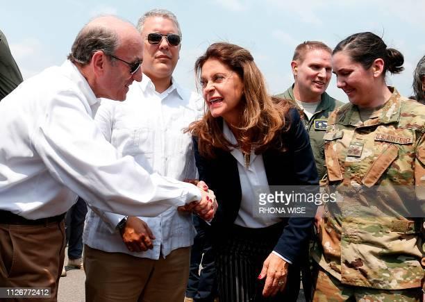 US Special Representative for Venezuela Elliott Abrams greets Colombian Vice President Marta Lucia Ramirez next to Colombian President Ivan Duque...