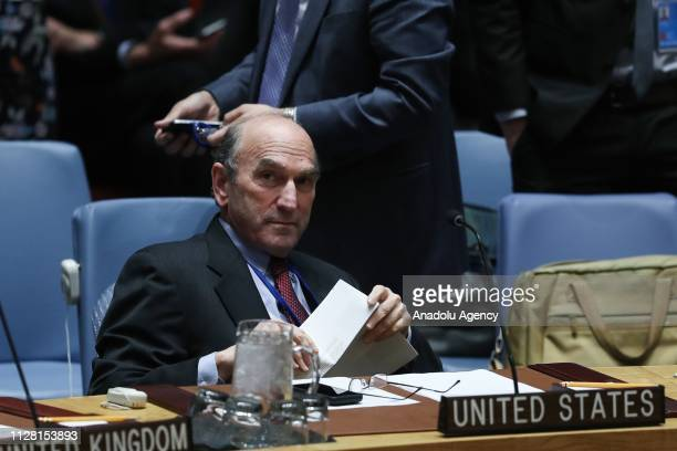 Special Representative for Venezuela Elliott Abrams speaks during an United Nations Security Council at United Nations headquarters in New York USA...
