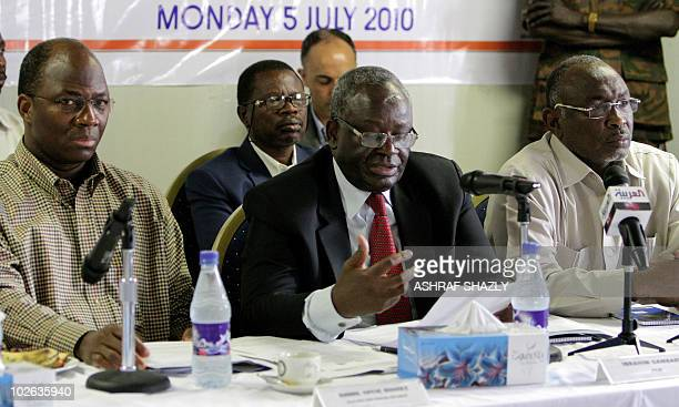 UNAMID special representative Ibrahim Gambari speaks at a highlevel meeting with Chinese European United Nations and African Union officials in...
