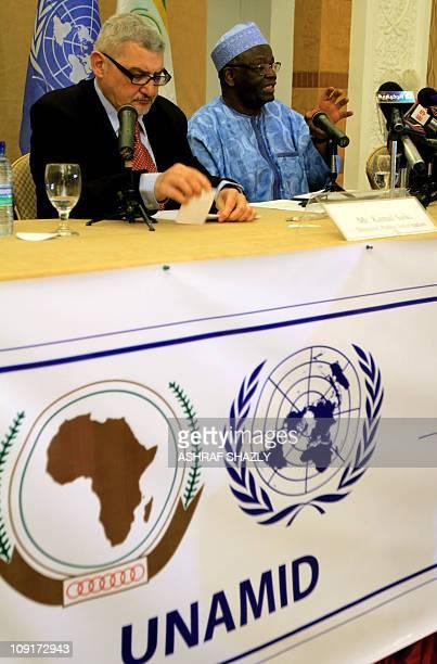 UNAMID special representative Ibrahim Gambari speaks during a press conference in the Sudanese capital Khartoum on february 16 2011 AFP PHOTO/ ASHRAF...