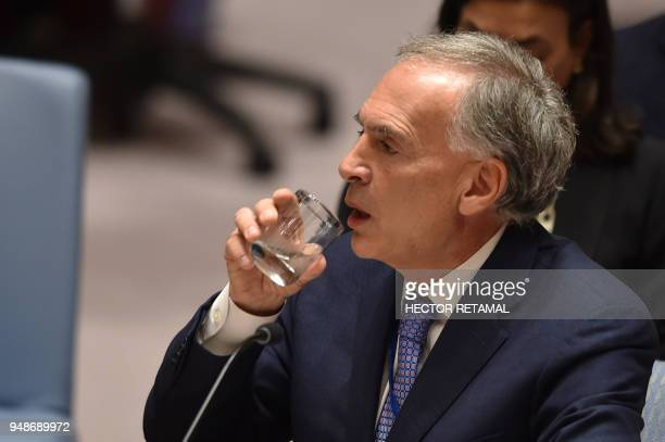 Special Representative of the SecretaryGeneral for Colombia and Head of the UN Mission in Colombia Jean Arnault reads a memo about the United Nations...