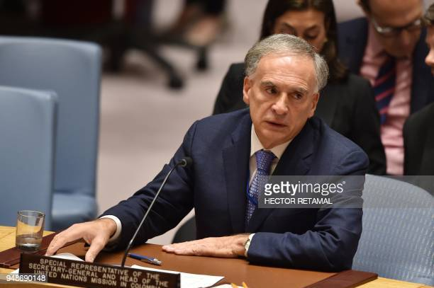 Special Representative of the SecretaryGeneral for Colombia and Head of the UN Mission in Colombia Jean Arnault attends to read a memo about the...