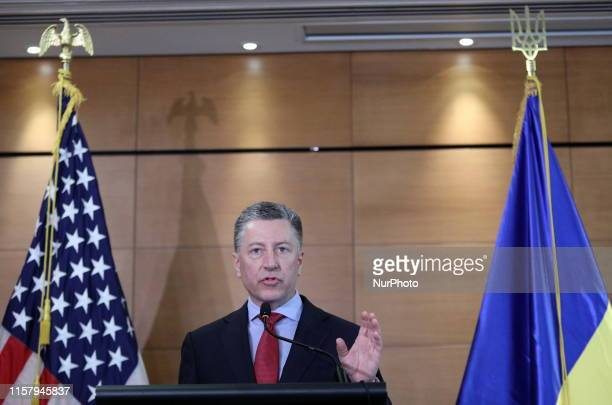 US special representative to Ukraine Kurt Volker communicates with the press during a press conference in Kiev Ukraine Saturday July 27 2019