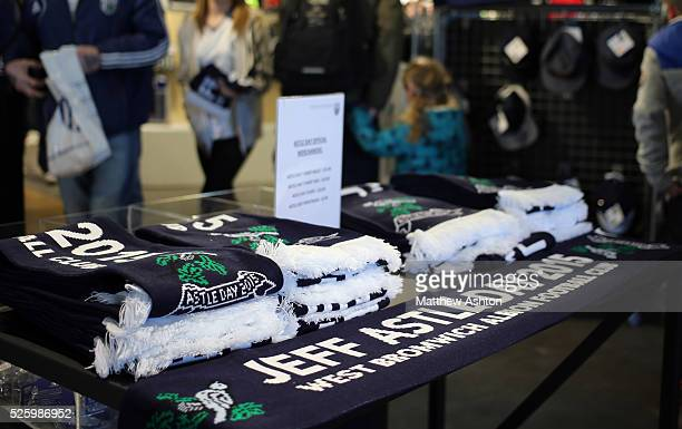 Special scarfs on sale in the club shop on Jeff Astle Day celebrating the former WBA legend who made his debut against Leicester City