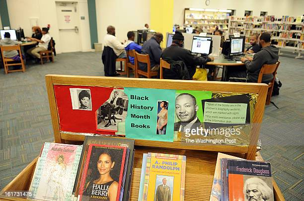 A special selection of books chosen to address the Black History Month are placed inside the Spauldings library which is part of Prince George's...