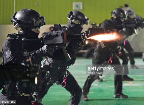 A special South Korean police squad conducts a drill to respond to a possible terrorist attack on Jan 24 in Pyeongchang South Korea ahead of the...