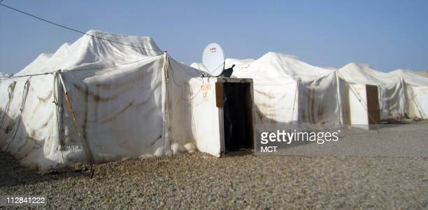 Special sprayon insulation helps to seal tents but gives them an igloolike aesthetic at JSS Wahab a remote US garrison on the Iraqi border with Iran...