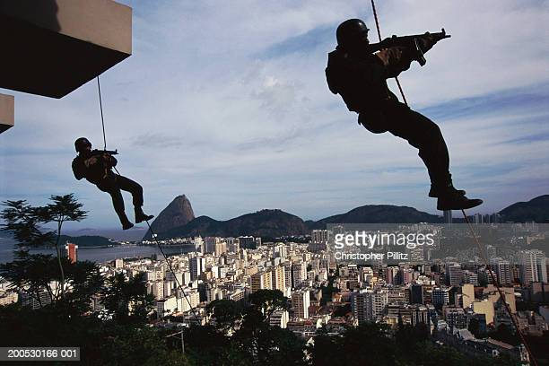 Special task force, BOPE abseiling as part of their rigorous training to combat the drugs trade, Rio de Janeiro, Brazil