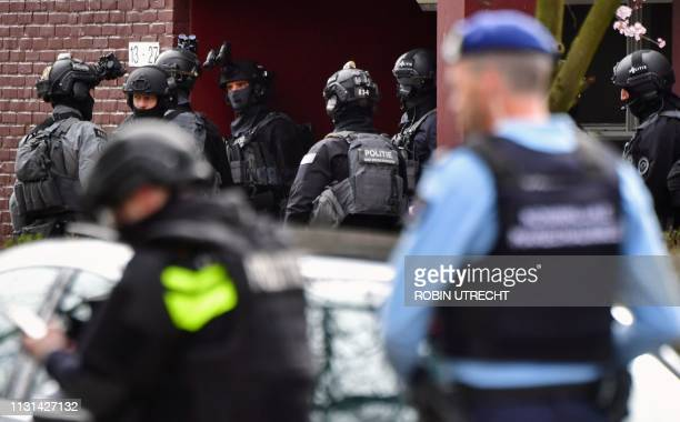 Special task forces of the police patrol in Trumanlaan in Utrecht on March 18 2019 as the police searches the attacker of a tram A gunman opened fire...