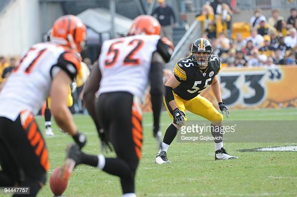 Special teams player Patrick Bailey of the Pittsburgh Steelers watches as the Cincinnati Bengals kickoff during a game at Heinz Field on November 15...