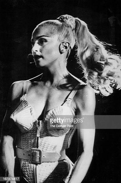 John Epperson Madonna performs during her first concert of the Blond Ambition tour in Los Angeles on May 12 1990
