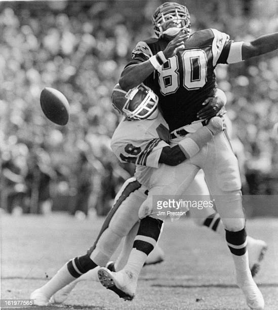 101986 Special to the Denver PostRandy Robbins hits Kellen Winslow to break up a pass Football Denver Broncos 1986 Game 6 Chargers tight end Kellen...
