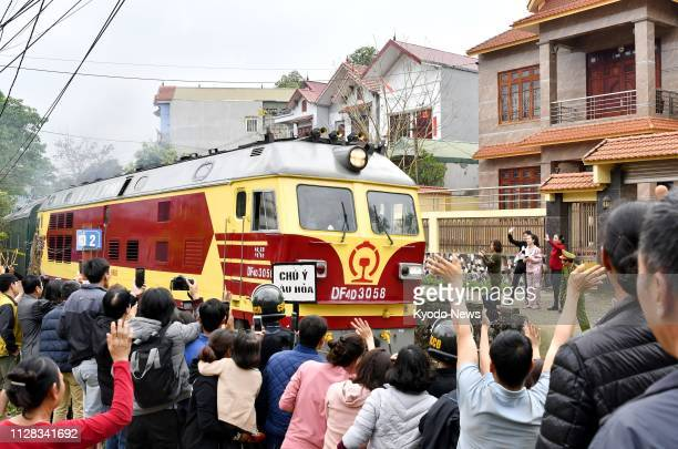 A special train carrying North Korean leader Kim Jong Un leaves Vietnam's Dong Dang station on March 2 2019 Kim traveled through the town on the...