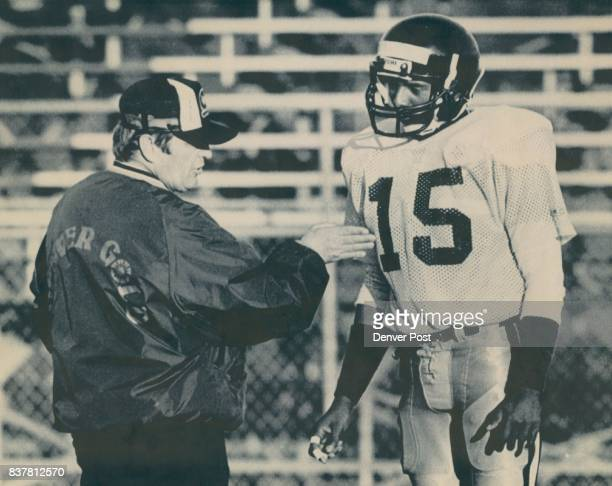 Special Transmission For The Denver Post ATTN Damian StrohmeyerThis photo of Denver Gold Wide Troy Johnson with the head coach during practice...