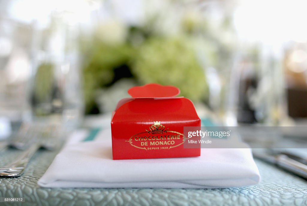 A special treat flown in from Chocolaterie de Monaco served at the Blue Ribbon of the Los Angeles Music Center to honor Princess Charlene of Monaco at Grand Hall at the Dorothy Chandler Pavililon on May 12, 2016 in Los Angeles, California.