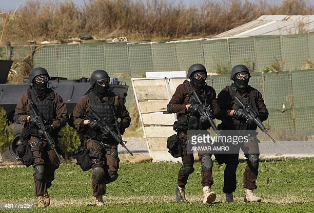A special unit from the Lebanese Internal Security Forces take part in a drill in the northern Beirut suburb of Dbayeh on January 11 2014 AFP...