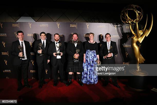 Special Visual Effects team of 'Game of Thrones' attends the 2016 Creative Arts Emmy Awards Press Room Day 1 at the Microsoft Theater on September 10...