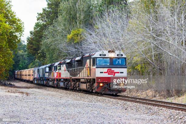 SCT Specialised Container Transport freight train in wintry Adelaide Hills