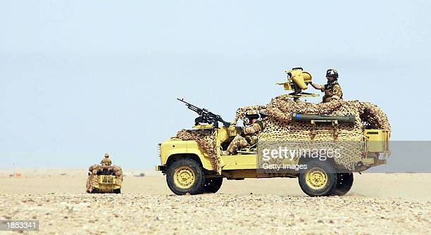 A specialised Landrover equipped with a 50 calibre Browning heavy machine gun 762 general purpose machine gun and MILAN antitank missile systems in...